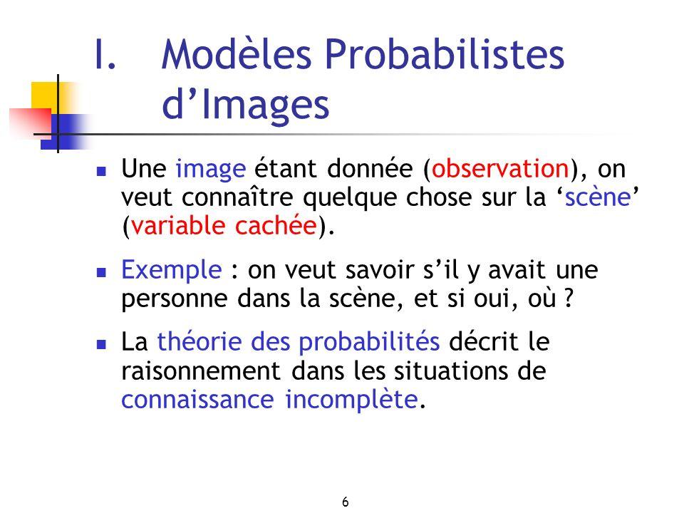 6 I. Modèles Probabilistes dImages Une image étant donnée (observation), on veut connaître quelque chose sur la scène (variable cachée). Exemple : on