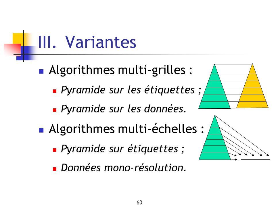 60 III. Variantes Algorithmes multi-grilles : Pyramide sur les étiquettes ; Pyramide sur les données. Algorithmes multi-échelles : Pyramide sur étique