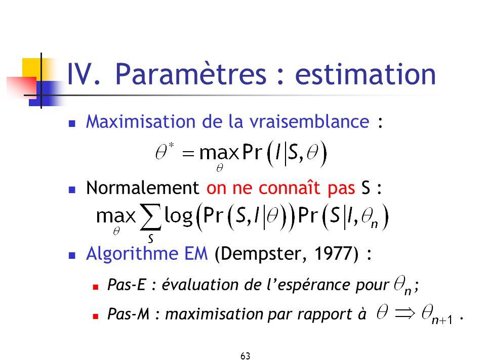 63 IV. Paramètres : estimation Maximisation de la vraisemblance : Normalement on ne connaît pas S : Algorithme EM (Dempster, 1977) : Pas-E : évaluatio