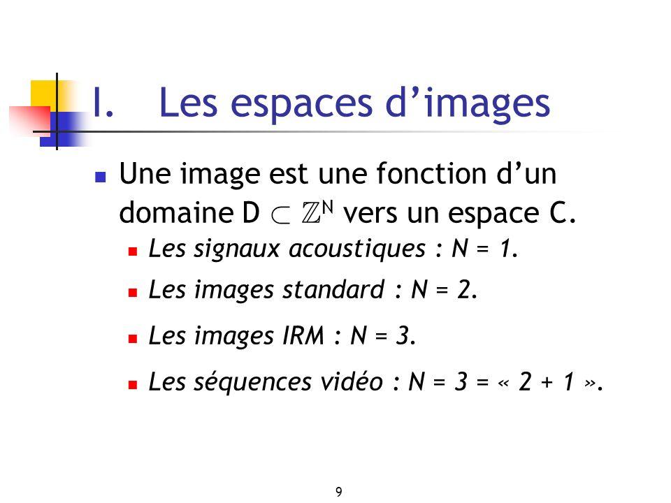 9 I. Les espaces dimages Une image est une fonction dun domaine D ½ Z N vers un espace C. Les signaux acoustiques : N = 1. Les images standard : N = 2