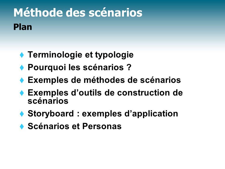 Méthode des scénarios Exemples de méthodes : Méthode CREWS Pohl & Haumer (1997) Scénarios systèmes (A) Scénarios d interaction (B) Scénarios contextuels (C)