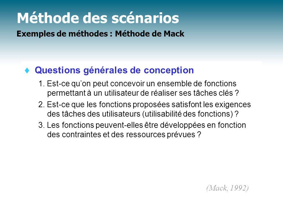 Méthode des scénarios Exemples de méthodes : Méthode de Mack Questions générales de conception 1. Est-ce quon peut concevoir un ensemble de fonctions