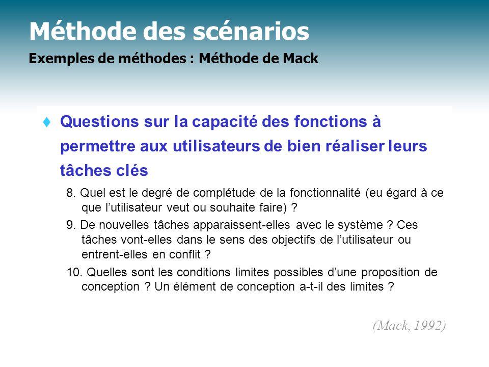 Méthode des scénarios Exemples de méthodes : Méthode de Mack Questions sur la capacité des fonctions à permettre aux utilisateurs de bien réaliser leu