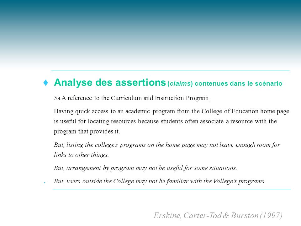 t Analyse des assertions (claims) contenues dans le scénario t 5a A reference to the Curriculum and Instruction Program t Having quick access to an ac