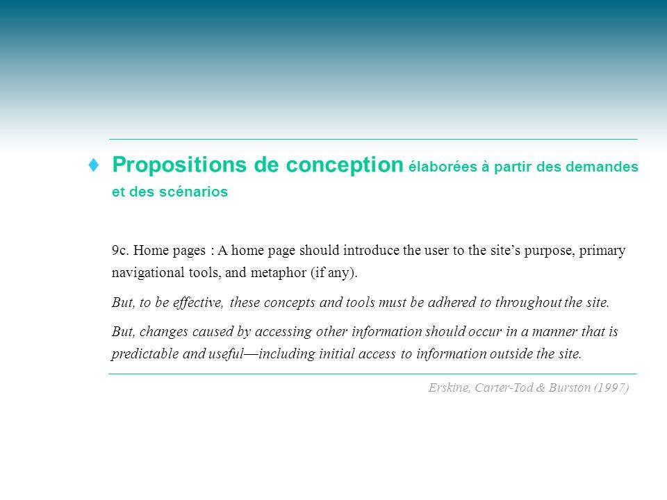 Propositions de conception élaborées à partir des demandes et des scénarios t 9c. Home pages : A home page should introduce the user to the sites purp