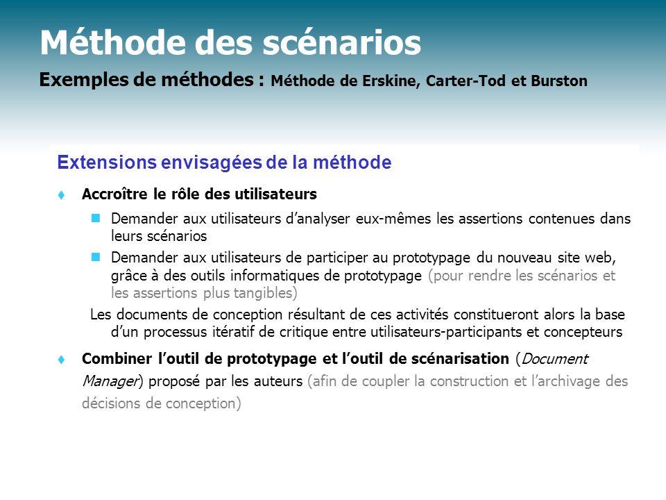 Méthode des scénarios Exemples de méthodes : Méthode de Erskine, Carter-Tod et Burston Extensions envisagées de la méthode t Accroître le rôle des uti
