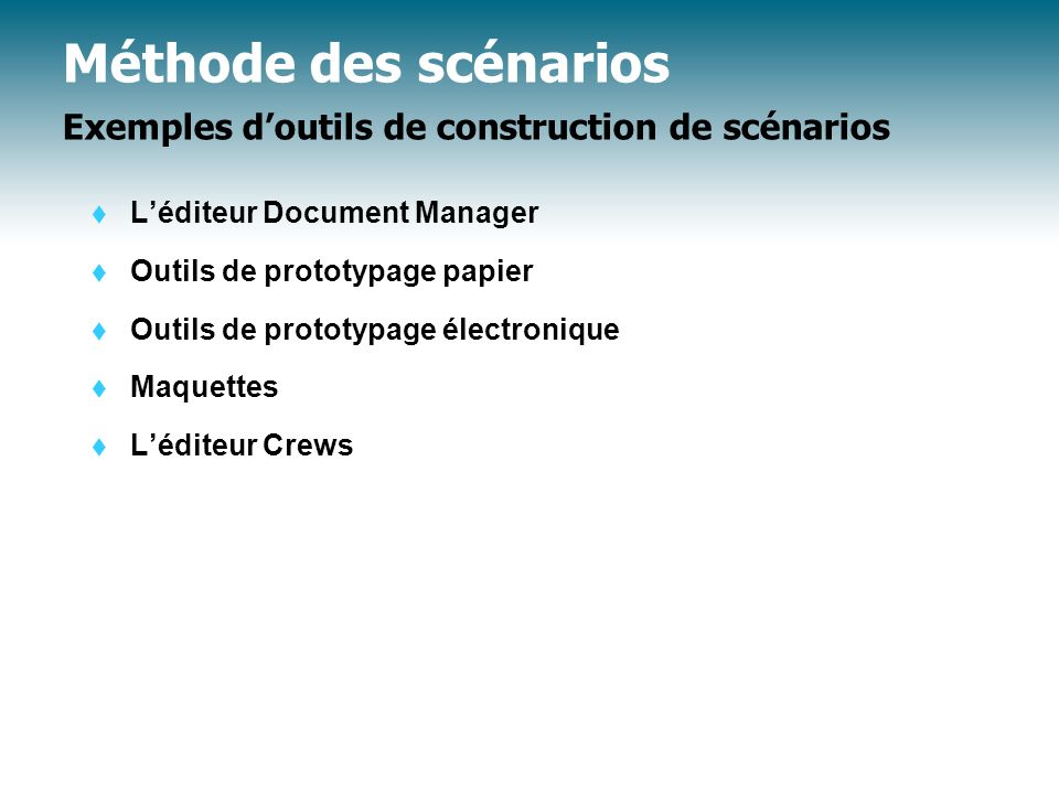 Méthode des scénarios Exemples doutils de construction de scénarios Léditeur Document Manager Outils de prototypage papier Outils de prototypage élect