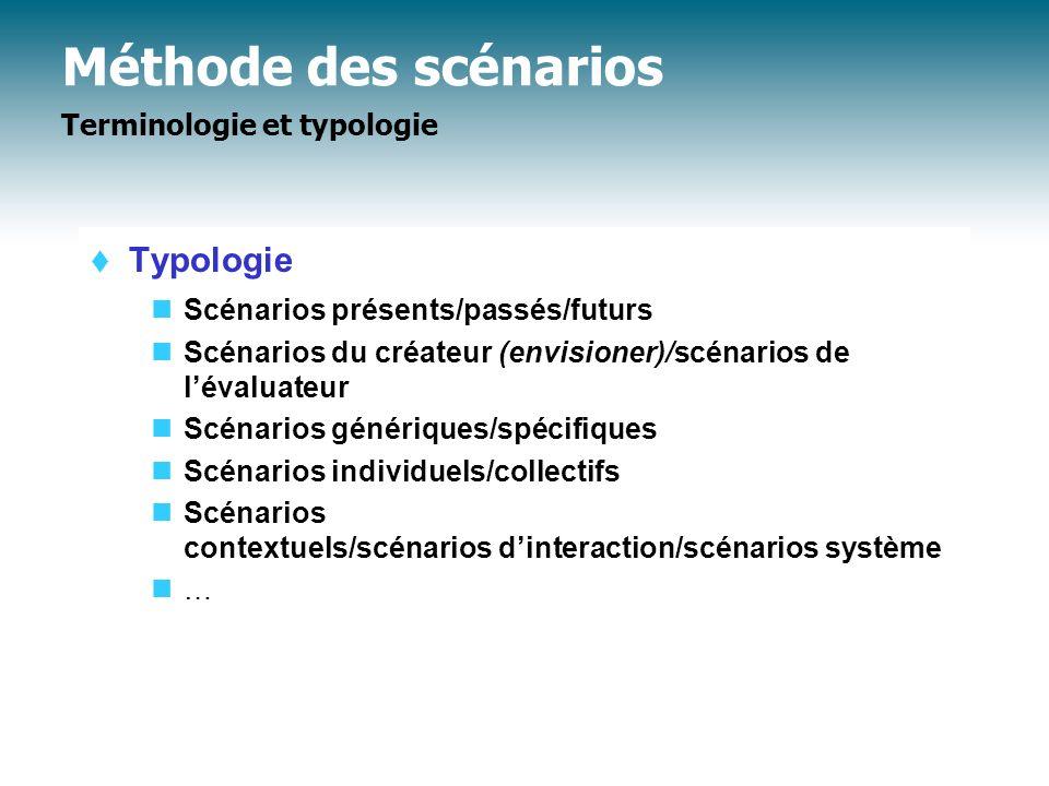 Méthode des scénarios Plan Terminologie et typologie Pourquoi les scénarios .