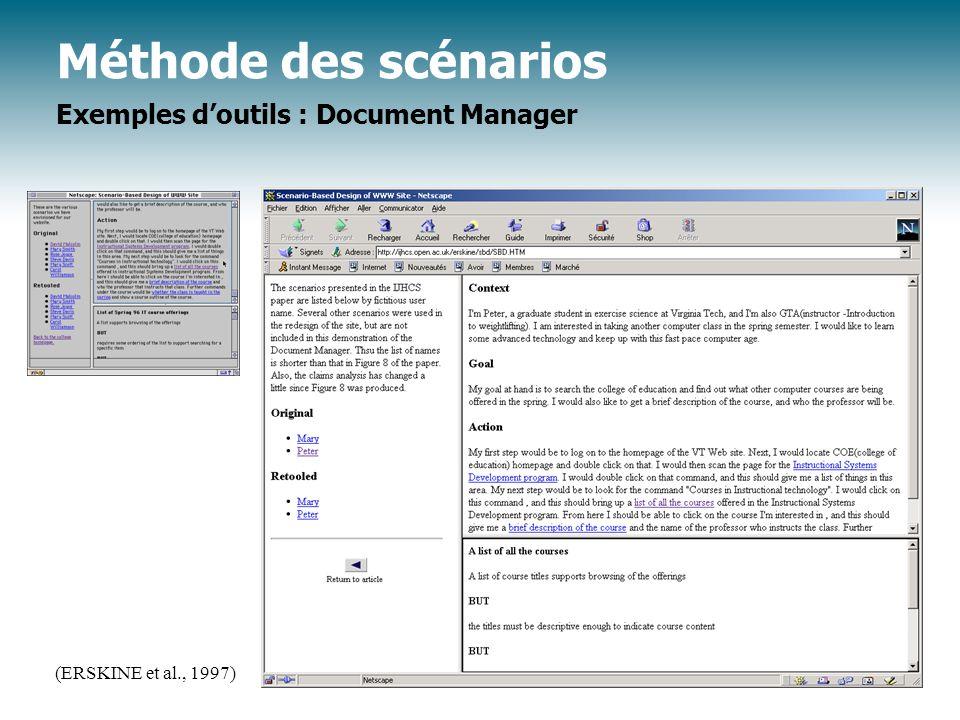 Méthode des scénarios Exemples doutils : Document Manager (ERSKINE et al., 1997)