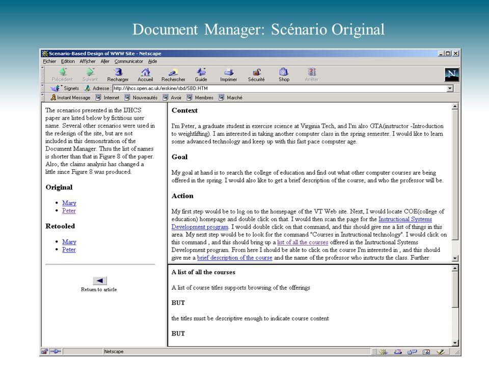 Document Manager: Scénario Original