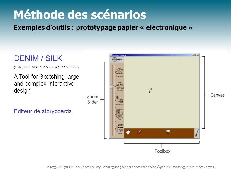 Méthode des scénarios Exemples doutils : prototypage papier « électronique » DENIM / SILK (LIN, THOMSEN AND LANDAY, 2002) A Tool for Sketching large a