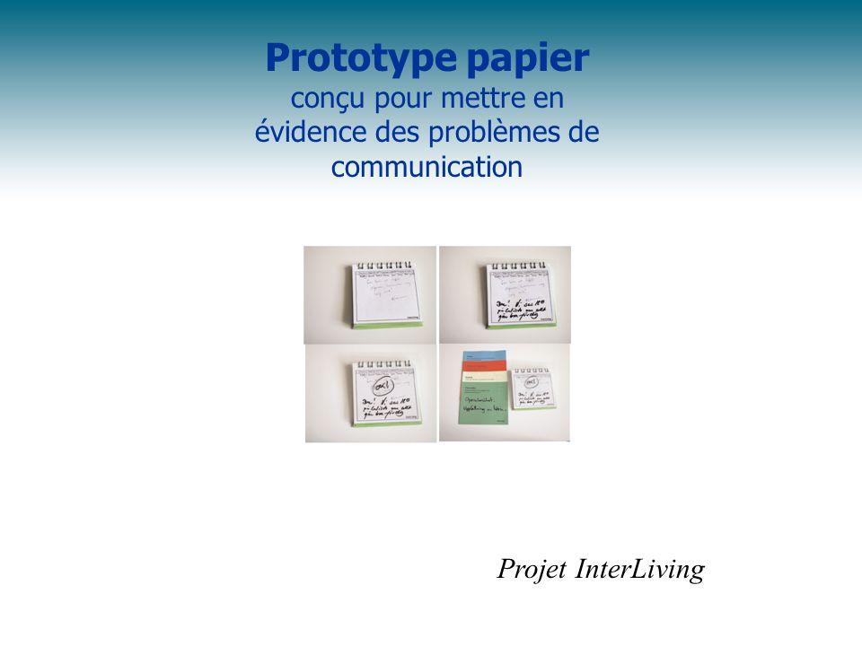 Prototype papier conçu pour mettre en évidence des problèmes de communication Projet InterLiving