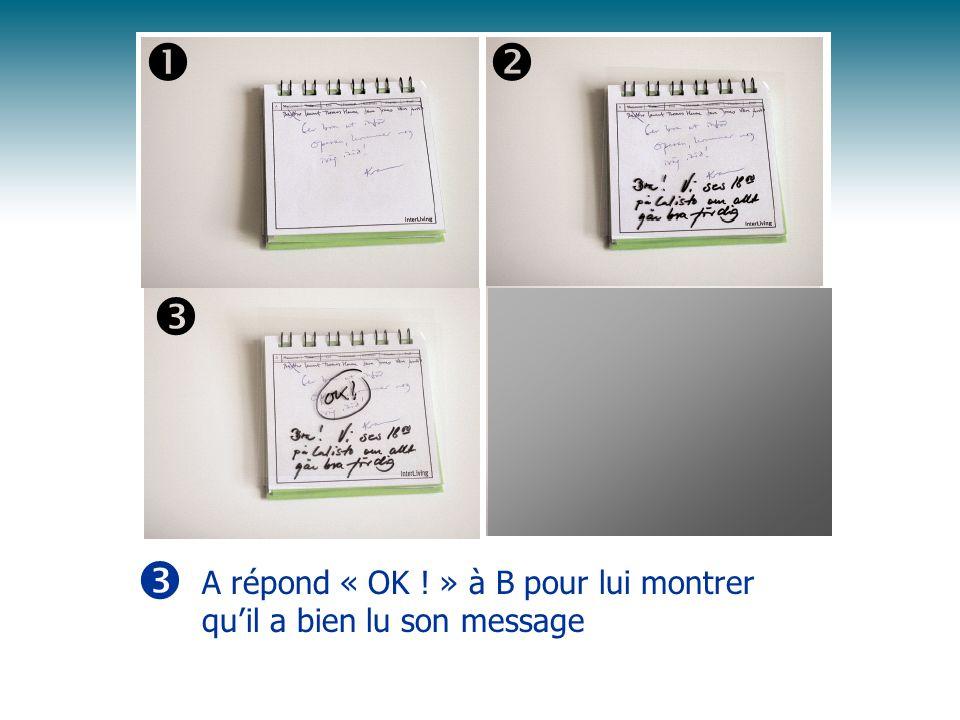 A répond « OK ! » à B pour lui montrer quil a bien lu son message
