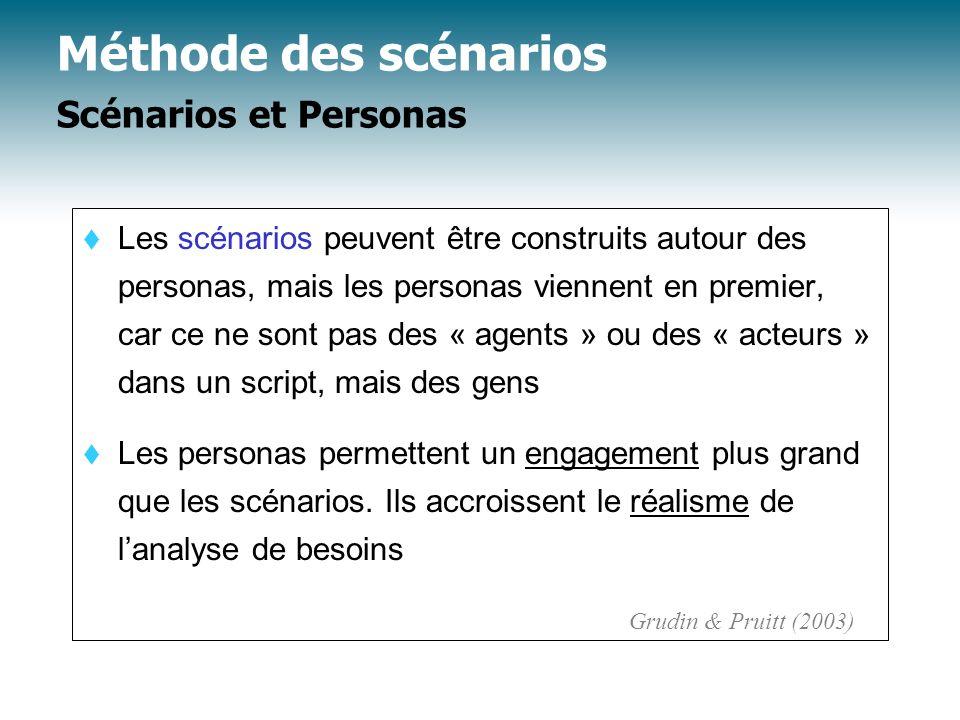 t Les scénarios peuvent être construits autour des personas, mais les personas viennent en premier, car ce ne sont pas des « agents » ou des « acteurs