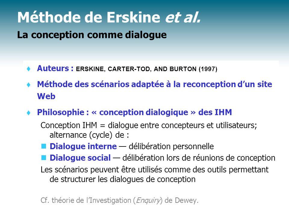Méthode de Erskine et al. Types de scénarios à construire