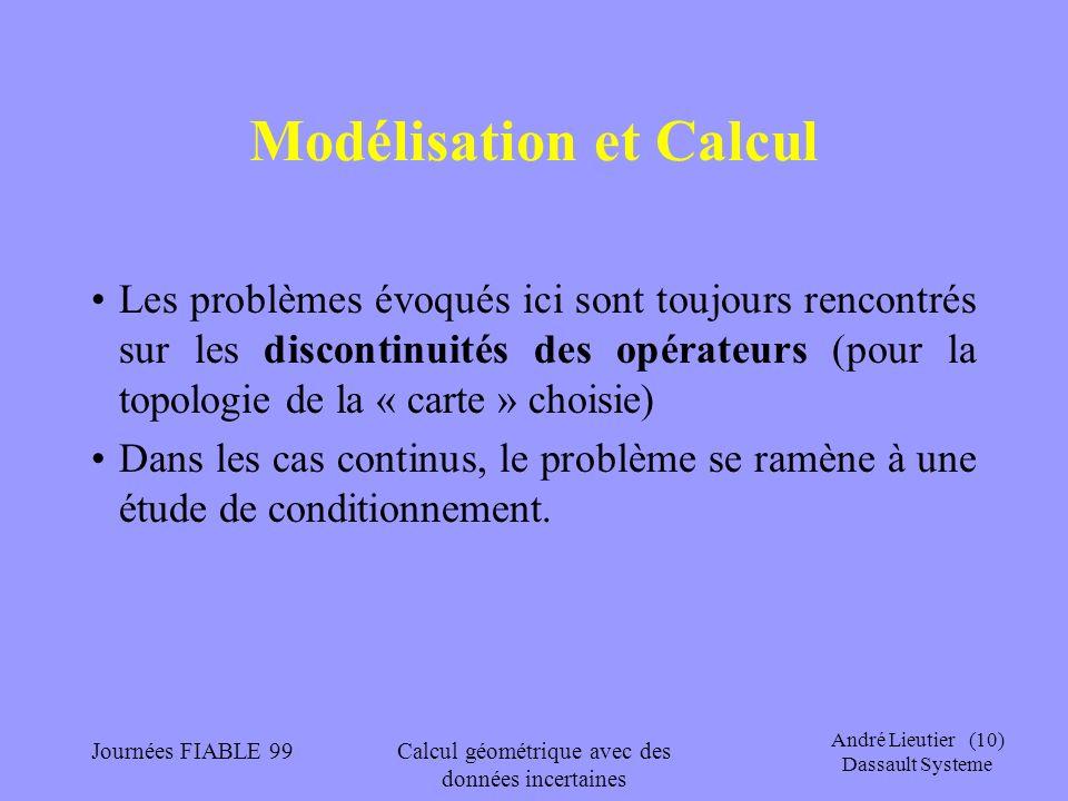 André Lieutier (10) Dassault Systeme Journées FIABLE 99Calcul géométrique avec des données incertaines Modélisation et Calcul Les problèmes évoqués ic