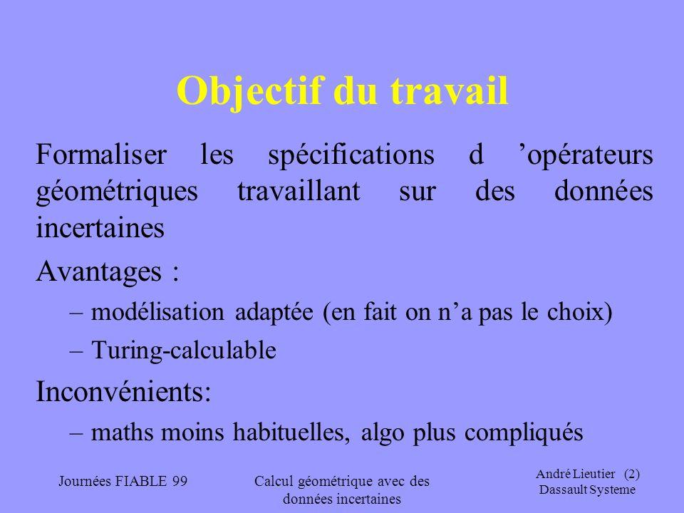 André Lieutier (23) Dassault Systeme Journées FIABLE 99Calcul géométrique avec des données incertaines Arithmétiques et domaine Les arithmétiques par intervalles ou les arithmétiques « exactes » sur les réels calculent en général sur des intervalles de nombres dyadiques, qui forment une base dénombrables du domaine des intervalles.