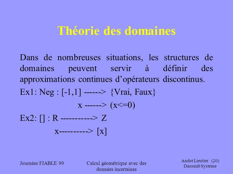 André Lieutier (20) Dassault Systeme Journées FIABLE 99Calcul géométrique avec des données incertaines Théorie des domaines Dans de nombreuses situati