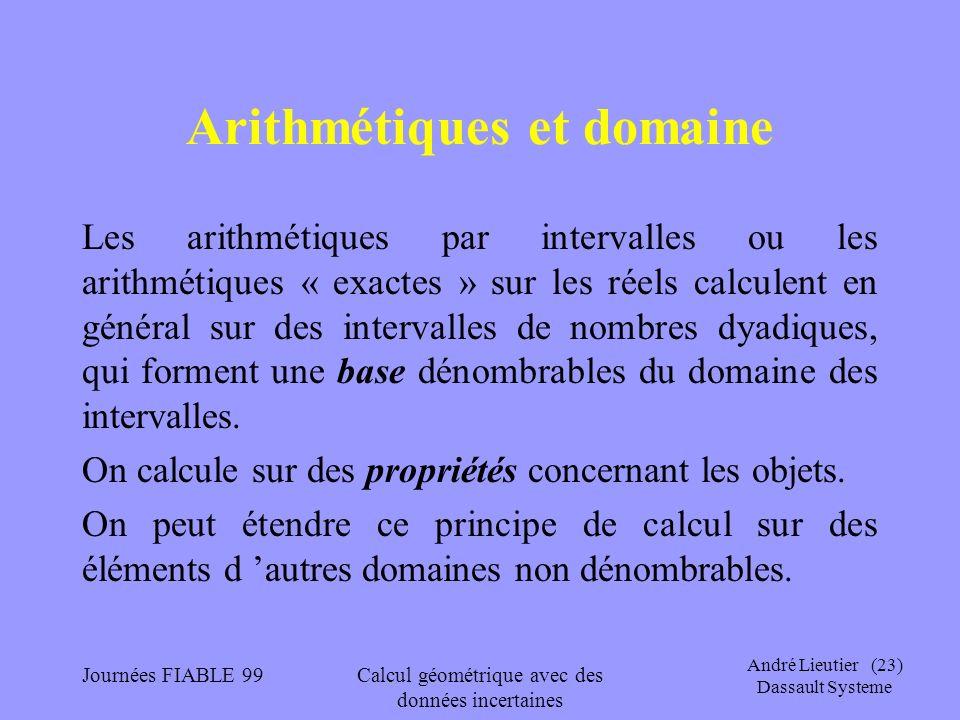 André Lieutier (23) Dassault Systeme Journées FIABLE 99Calcul géométrique avec des données incertaines Arithmétiques et domaine Les arithmétiques par