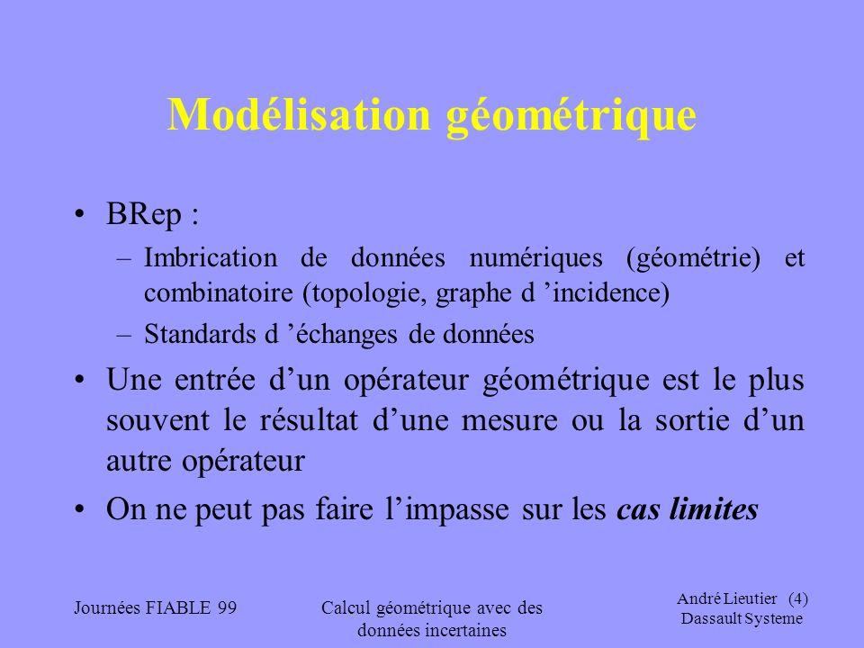 André Lieutier (4) Dassault Systeme Journées FIABLE 99Calcul géométrique avec des données incertaines Modélisation géométrique BRep : –Imbrication de