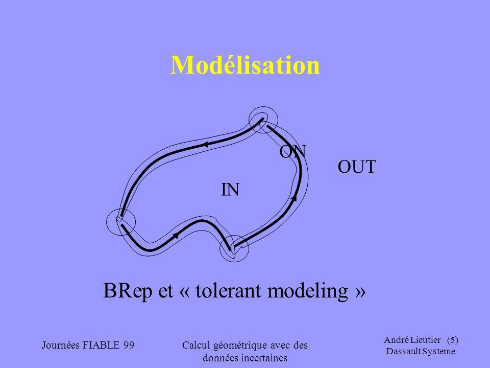 André Lieutier (5) Dassault Systeme Journées FIABLE 99Calcul géométrique avec des données incertaines Modélisation IN OUT ON BRep et « tolerant modeli