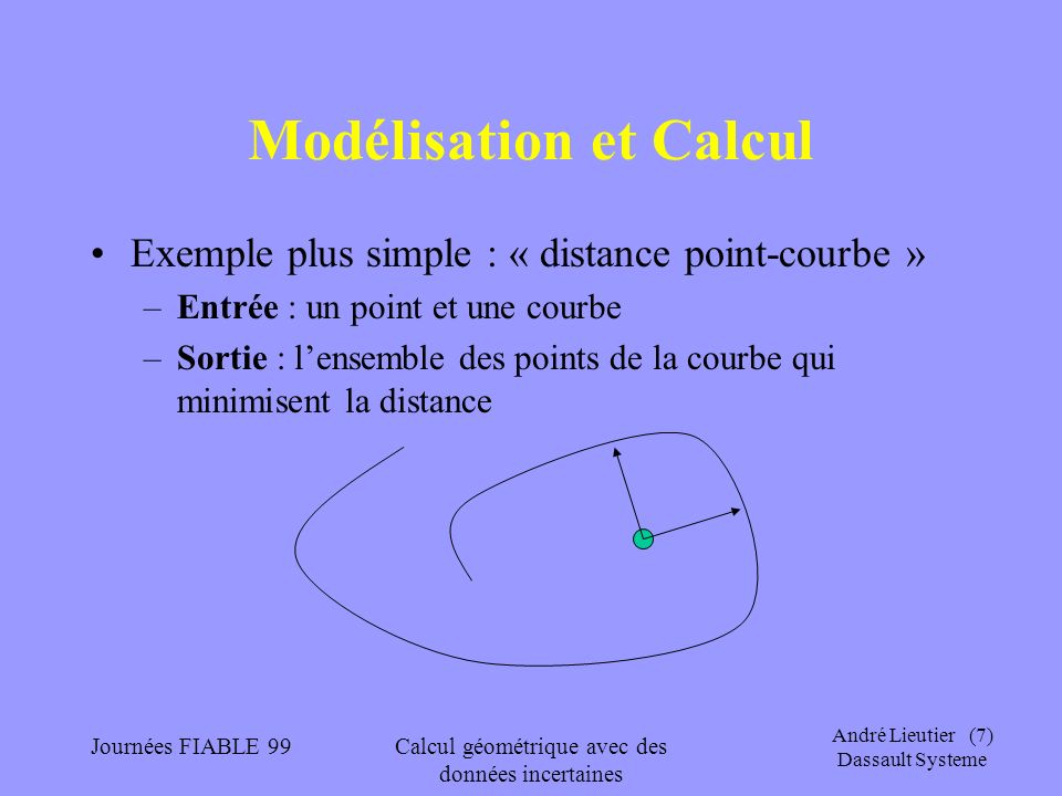 André Lieutier (18) Dassault Systeme Journées FIABLE 99Calcul géométrique avec des données incertaines Théorie des domaines Un autre exemple est le domaine des intervalles I[0,1] des intervalles de réels [a, b] avec 0 a b 1 Avec lordre d information inverse de l inclusion : [a,b] [a,b] [a,b] représente une information sur un réel x : a x b