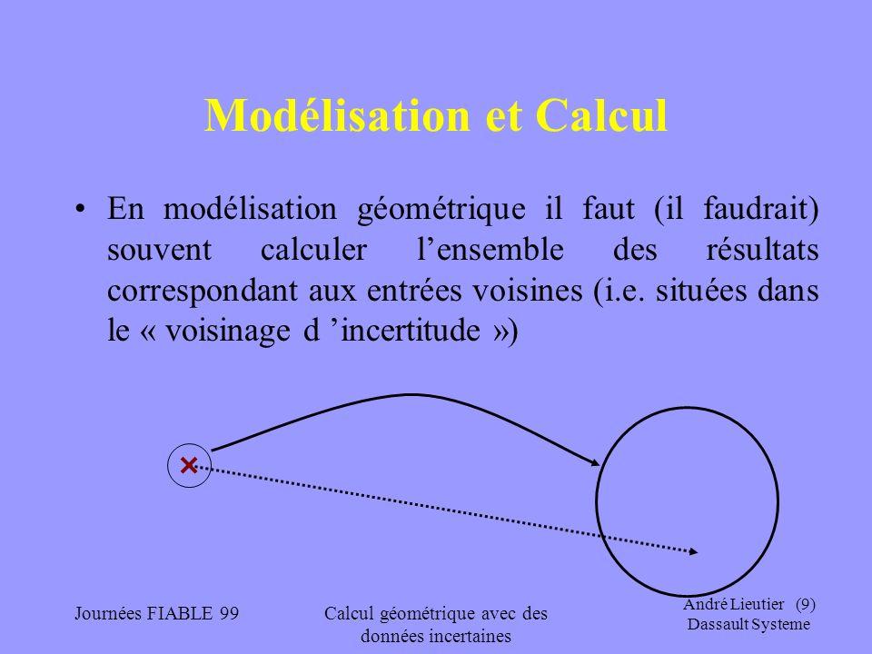 André Lieutier (10) Dassault Systeme Journées FIABLE 99Calcul géométrique avec des données incertaines Modélisation et Calcul Les problèmes évoqués ici sont toujours rencontrés sur les discontinuités des opérateurs (pour la topologie de la « carte » choisie) Dans les cas continus, le problème se ramène à une étude de conditionnement.