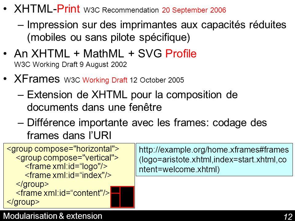 12 Modularisation & extension XHTML-Print W3C Recommendation 20 September 2006 –Impression sur des imprimantes aux capacités réduites (mobiles ou sans pilote spécifique) An XHTML + MathML + SVG Profile W3C Working Draft 9 August 2002 XFrames W3C Working Draft 12 October 2005 –Extension de XHTML pour la composition de documents dans une fenêtre –Différence importante avec les frames: codage des frames dans lURI http://example.org/home.xframes#frames (logo=aristote.xhtml,index=start.xhtml,co ntent=welcome.xhtml)