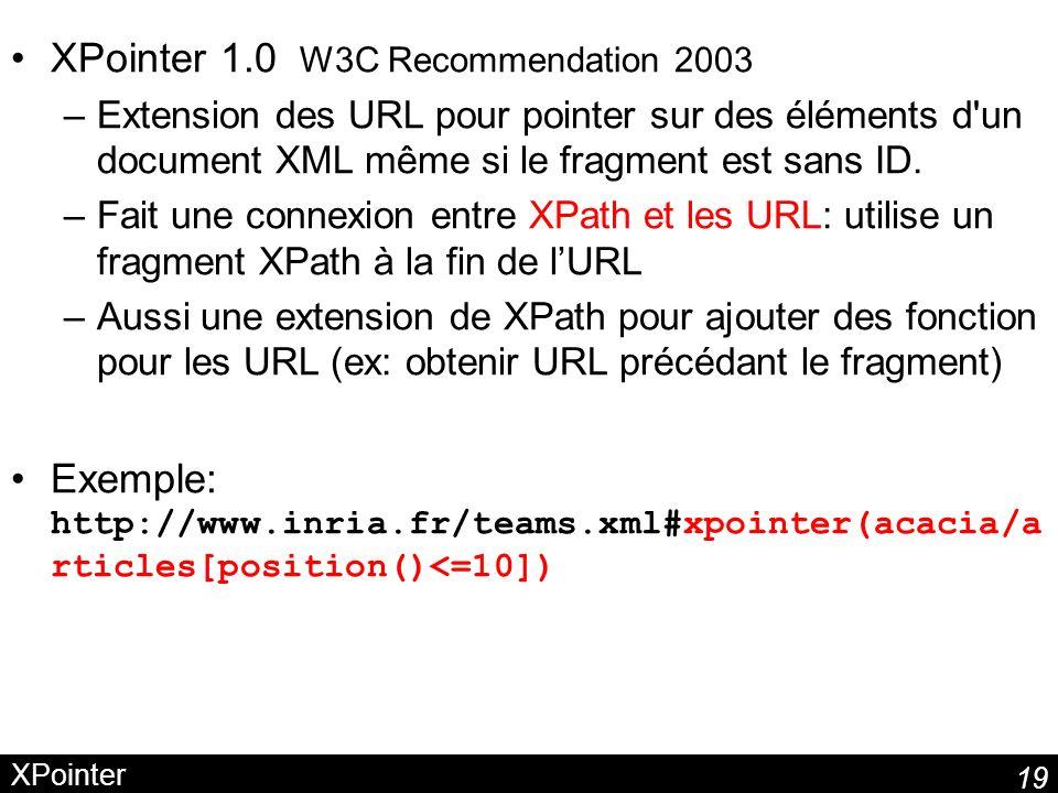 19 XPointer XPointer 1.0 W3C Recommendation 2003 –Extension des URL pour pointer sur des éléments d'un document XML même si le fragment est sans ID. –