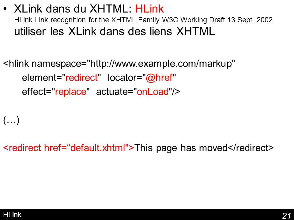 21 HLink XLink dans du XHTML: HLink HLink Link recognition for the XHTML Family W3C Working Draft 13 Sept. 2002 utiliser les XLink dans des liens XHTM