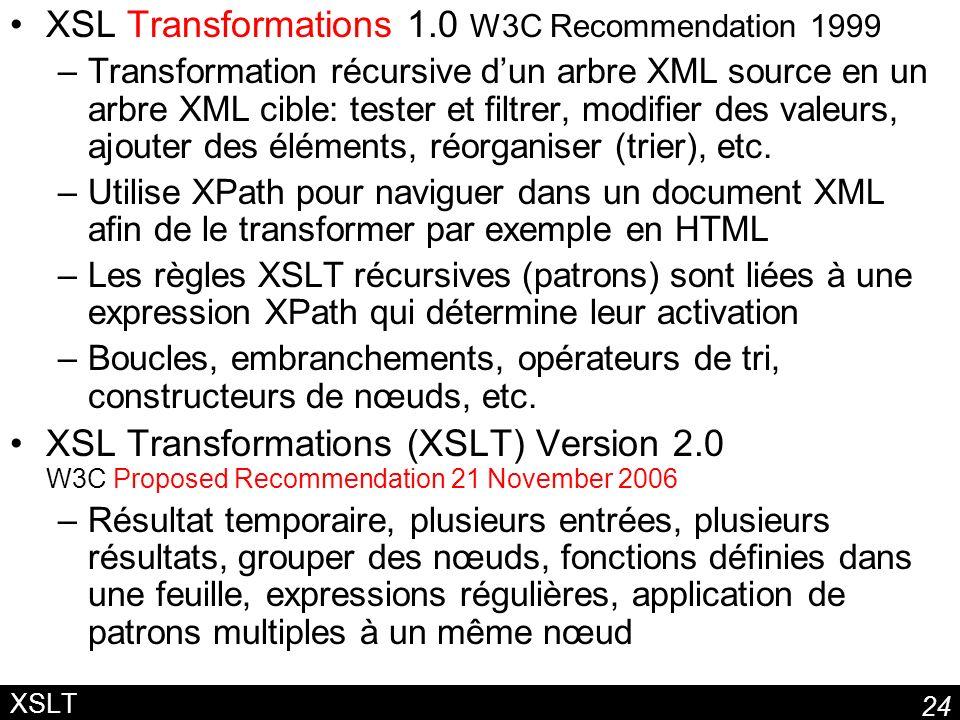 24 XSLT XSL Transformations 1.0 W3C Recommendation 1999 –Transformation récursive dun arbre XML source en un arbre XML cible: tester et filtrer, modifier des valeurs, ajouter des éléments, réorganiser (trier), etc.