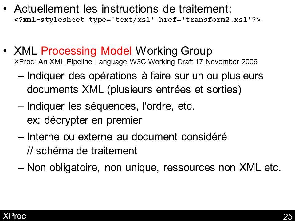 25 XProc Actuellement les instructions de traitement: XML Processing Model Working Group XProc: An XML Pipeline Language W3C Working Draft 17 November 2006 –Indiquer des opérations à faire sur un ou plusieurs documents XML (plusieurs entrées et sorties) –Indiquer les séquences, l ordre, etc.
