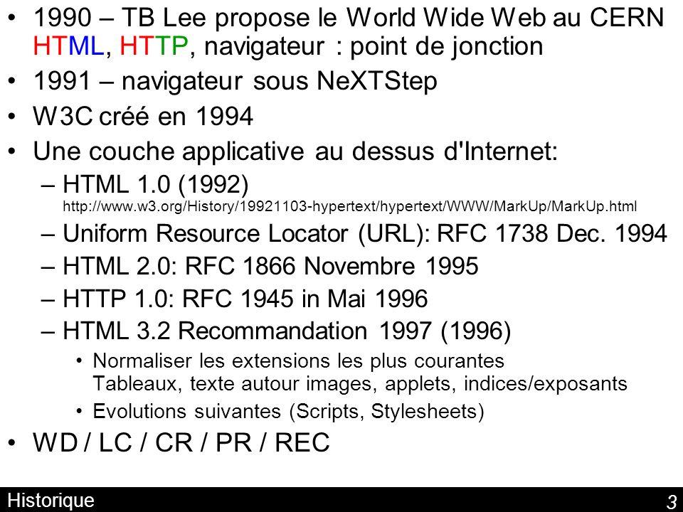 3 Historique 1990 – TB Lee propose le World Wide Web au CERN HTML, HTTP, navigateur : point de jonction 1991 – navigateur sous NeXTStep W3C créé en 1994 Une couche applicative au dessus d Internet: –HTML 1.0 (1992) http://www.w3.org/History/19921103-hypertext/hypertext/WWW/MarkUp/MarkUp.html –Uniform Resource Locator (URL): RFC 1738 Dec.
