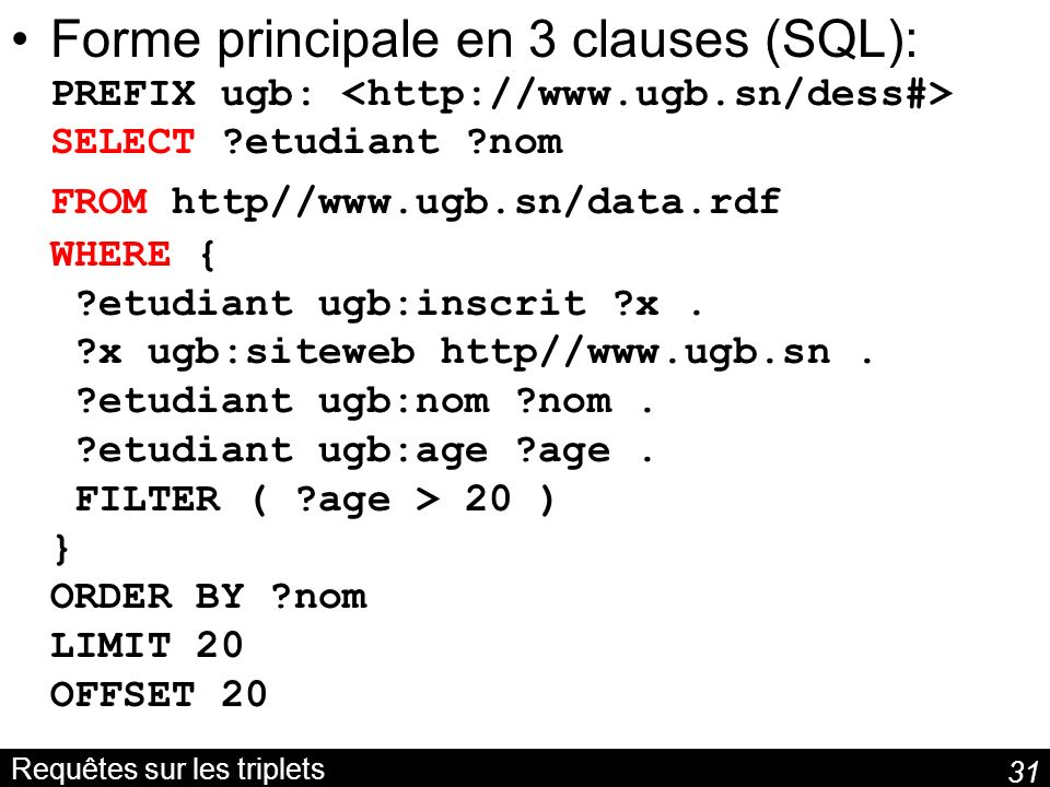 31 Requêtes sur les triplets Forme principale en 3 clauses (SQL): PREFIX ugb: SELECT ?etudiant ?nom FROM http//www.ugb.sn/data.rdf WHERE { ?etudiant u