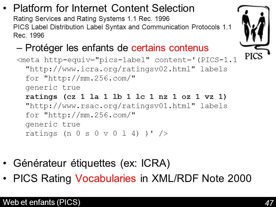 47 Web et enfants (PICS) Platform for Internet Content Selection Rating Services and Rating Systems 1.1 Rec. 1996 PICS Label Distribution Label Syntax