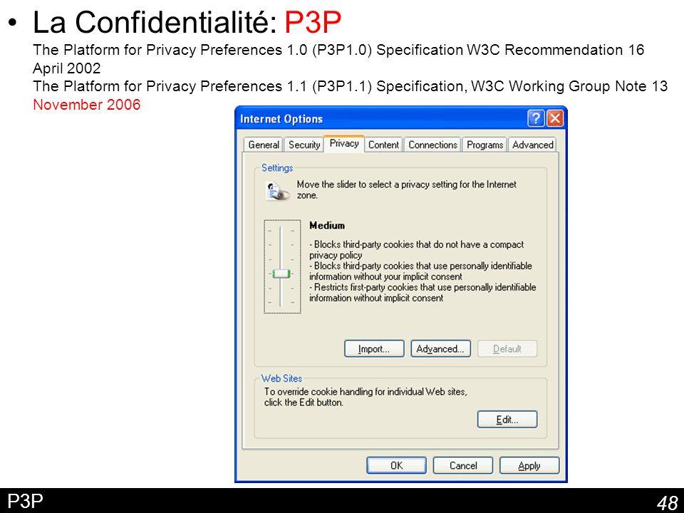 48 P3P La Confidentialité: P3P The Platform for Privacy Preferences 1.0 (P3P1.0) Specification W3C Recommendation 16 April 2002 The Platform for Priva
