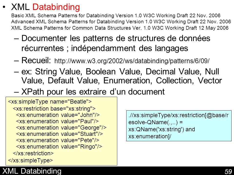 59 XML Databinding XML Databinding Basic XML Schema Patterns for Databinding Version 1.0 W3C Working Draft 22 Nov. 2006 Advanced XML Schema Patterns f