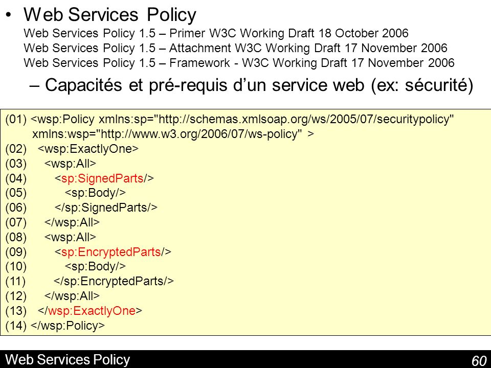60 Web Services Policy Web Services Policy Web Services Policy 1.5 – Primer W3C Working Draft 18 October 2006 Web Services Policy 1.5 – Attachment W3C