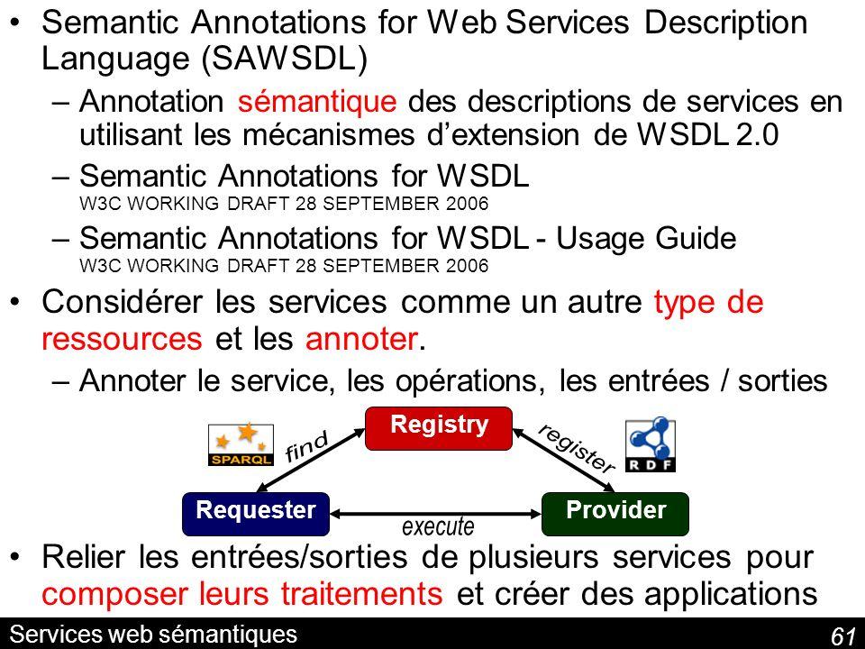 61 Services web sémantiques Semantic Annotations for Web Services Description Language (SAWSDL) –Annotation sémantique des descriptions de services en utilisant les mécanismes dextension de WSDL 2.0 –Semantic Annotations for WSDL W3C WORKING DRAFT 28 SEPTEMBER 2006 –Semantic Annotations for WSDL - Usage Guide W3C WORKING DRAFT 28 SEPTEMBER 2006 Considérer les services comme un autre type de ressources et les annoter.