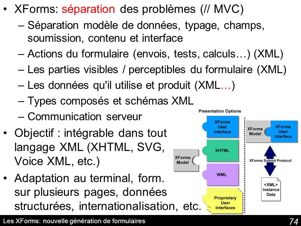 74 Les XForms: nouvelle génération de formulaires XForms: séparation des problèmes (// MVC) –Séparation modèle de données, typage, champs, soumission, contenu et interface –Actions du formulaire (envois, tests, calculs…) (XML) –Les parties visibles / perceptibles du formulaire (XML) –Les données qu il utilise et produit (XML…) –Types composés et schémas XML –Communication serveur Objectif : intégrable dans tout langage XML (XHTML, SVG, Voice XML, etc.) Adaptation au terminal, form.