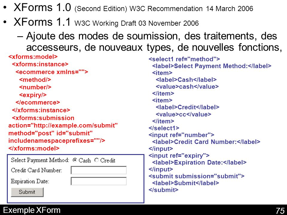 75 Exemple XForm XForms 1.0 (Second Edition) W3C Recommendation 14 March 2006 XForms 1.1 W3C Working Draft 03 November 2006 –Ajoute des modes de soumission, des traitements, des accesseurs, de nouveaux types, de nouvelles fonctions, Select Payment Method: Cash cash Credit cc Credit Card Number: Expiration Date: Submit