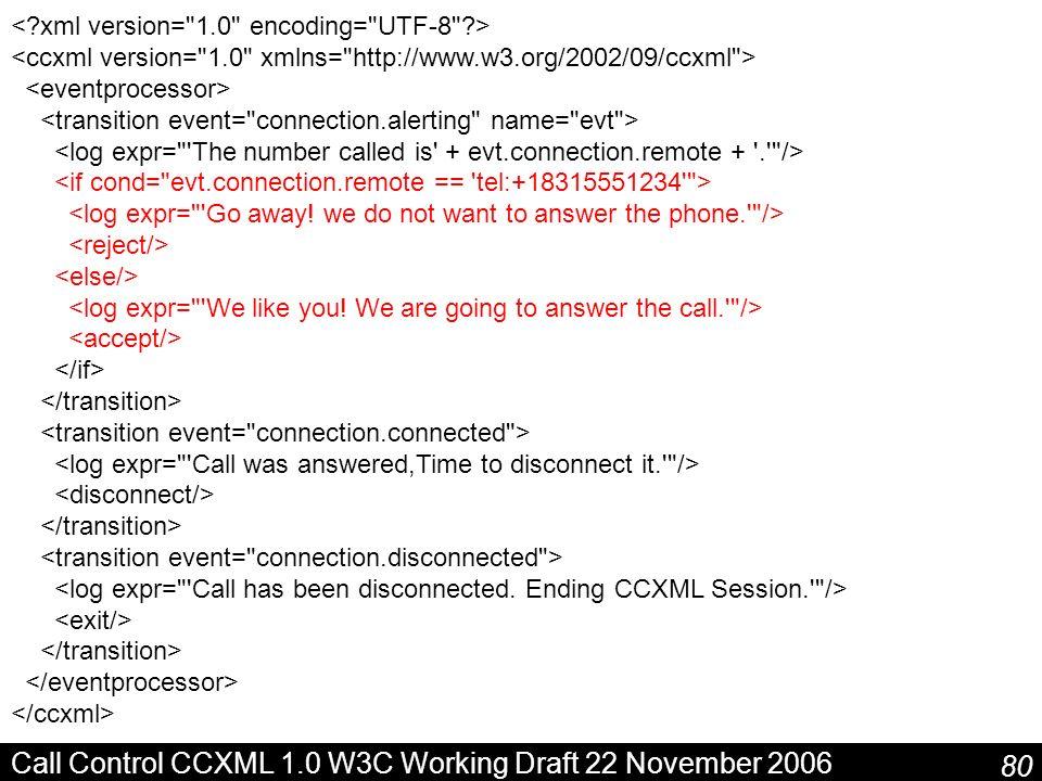 80 Call Control CCXML 1.0 W3C Working Draft 22 November 2006