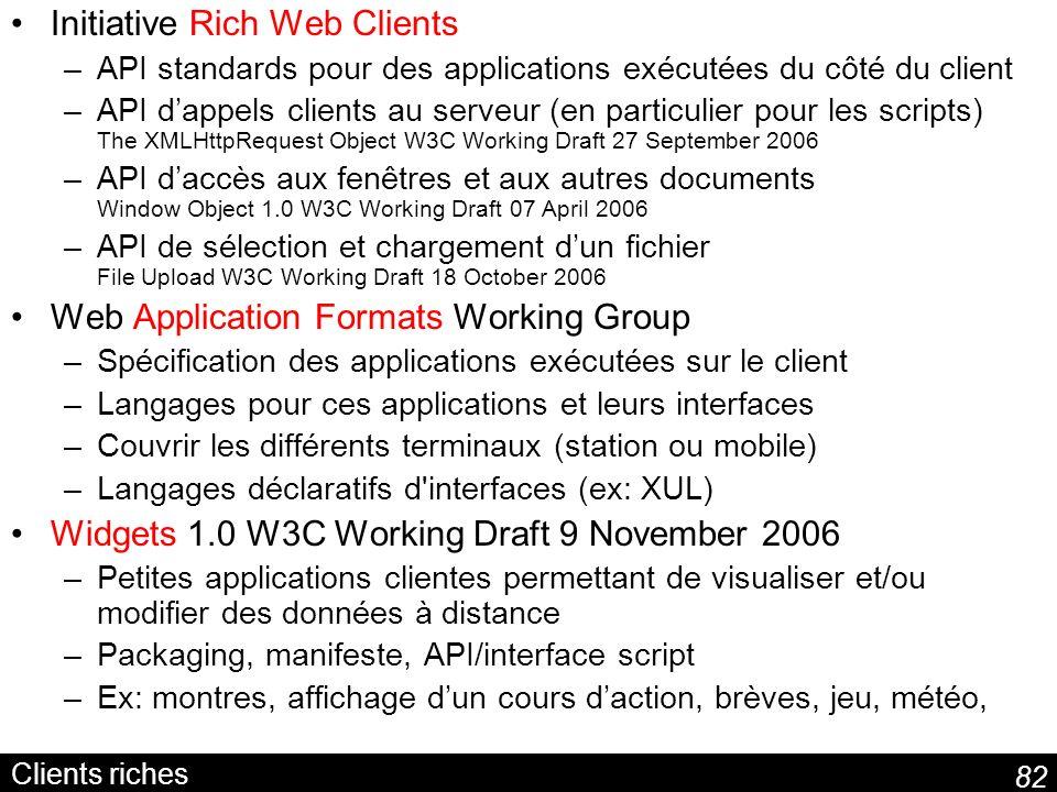 82 Clients riches Initiative Rich Web Clients –API standards pour des applications exécutées du côté du client –API dappels clients au serveur (en par