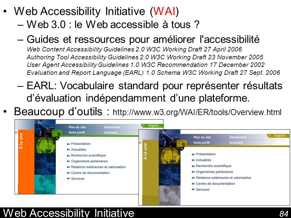 84 Web Accessibility Initiative Web Accessibility Initiative (WAI) –Web 3.0 : le Web accessible à tous ? –Guides et ressources pour améliorer l'access