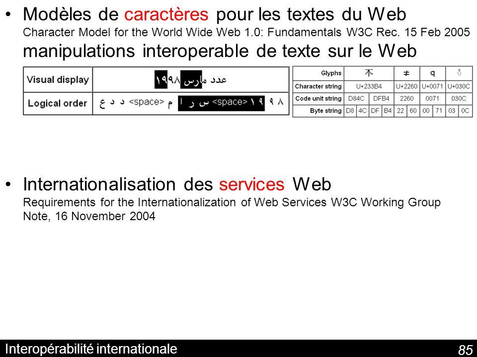 85 Interopérabilité internationale Modèles de caractères pour les textes du Web Character Model for the World Wide Web 1.0: Fundamentals W3C Rec.
