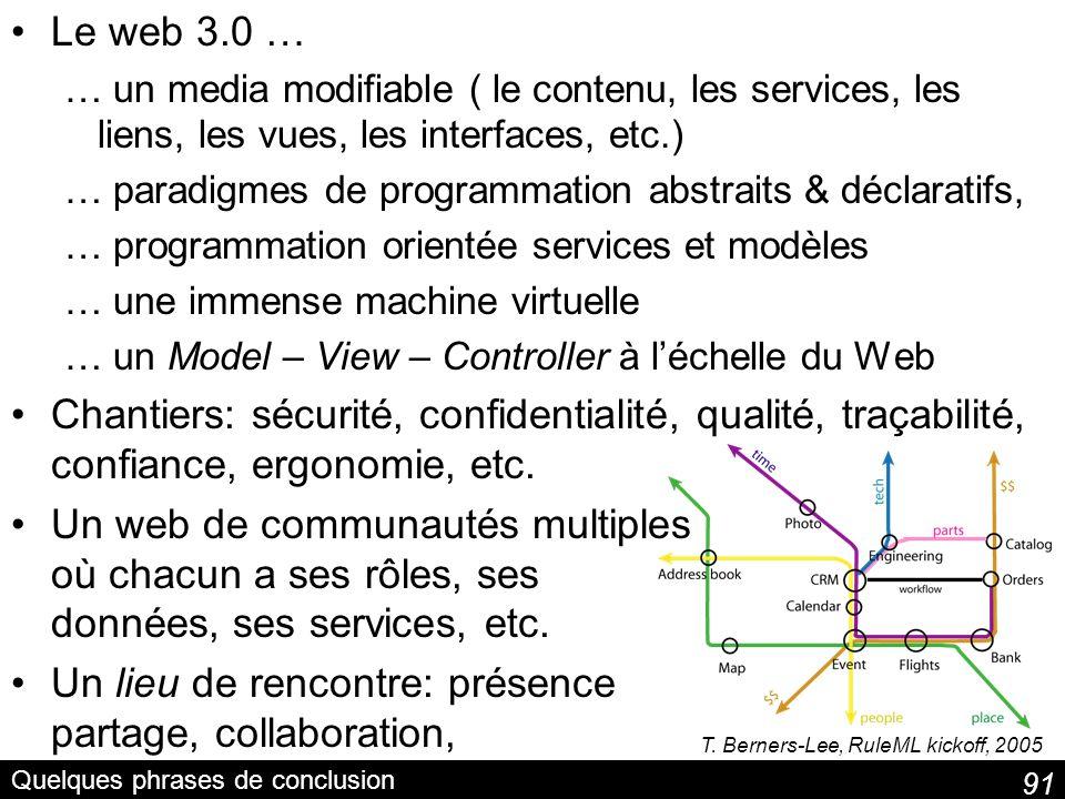 91 Quelques phrases de conclusion Le web 3.0 … … un media modifiable ( le contenu, les services, les liens, les vues, les interfaces, etc.) … paradigm