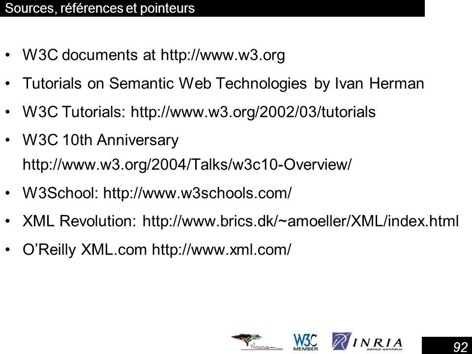 92 Sources, références et pointeurs W3C documents at http://www.w3.org Tutorials on Semantic Web Technologies by Ivan Herman W3C Tutorials: http://www.w3.org/2002/03/tutorials W3C 10th Anniversary http://www.w3.org/2004/Talks/w3c10-Overview/ W3School: http://www.w3schools.com/ XML Revolution: http://www.brics.dk/~amoeller/XML/index.html OReilly XML.com http://www.xml.com/