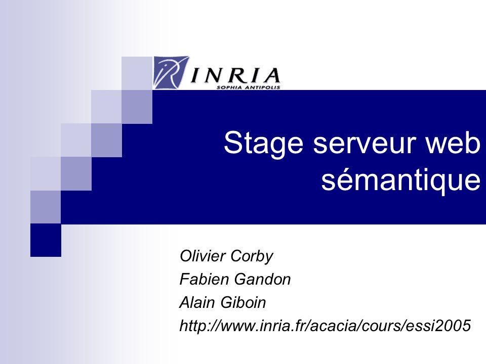 Stage serveur web sémantique Olivier Corby Fabien Gandon Alain Giboin http://www.inria.fr/acacia/cours/essi2005