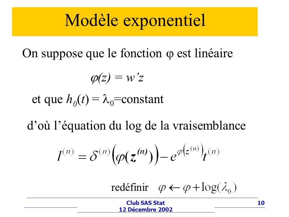 10Club SAS Stat 12 Décembre 2002 Modèle exponentiel (z) = wz On suppose que le fonction est linéaire et que h 0 (t) = 0 =constant doù léquation du log