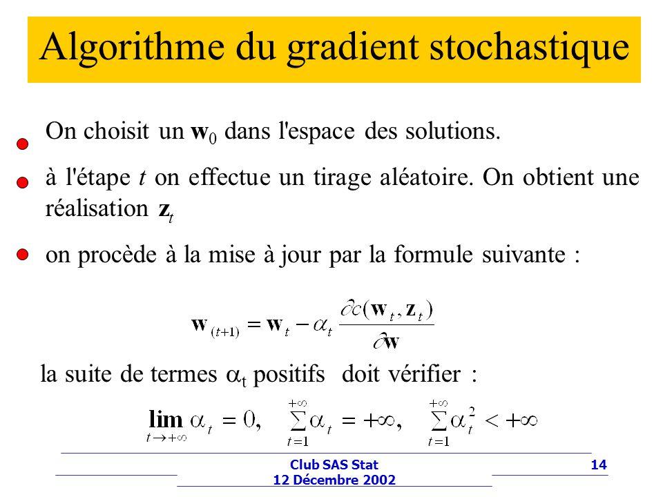 14Club SAS Stat 12 Décembre 2002 Algorithme du gradient stochastique On choisit un w 0 dans l'espace des solutions. à l'étape t on effectue un tirage
